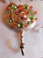 Antique Mermaid Metal Wall Hook with Autumn Crystals.