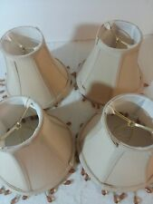 "Lot of 4 Small Lamp Shade Tan Silk Fabric Shade Clip On Dangling Amber Beads 5"""