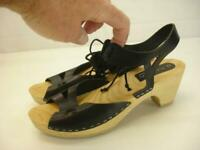 Women's 9 39 a. nordin Sweden Swedish Black Leather Wooden Clogs Sandals Stapled
