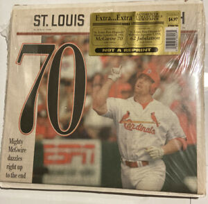 St. Louis Post Dispatch Newspapers 1998 Mark McGwire 62 & 70 Home Runs *SEALED*