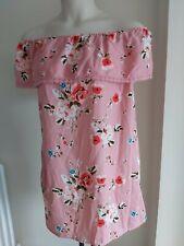Ladies OFF SHOULDER size 16 summer BARDOT DRESS floral PINK - FREE POST