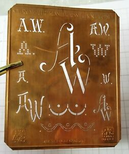 AW A W monogram embroidery stencil copper antique large initials letters vintage