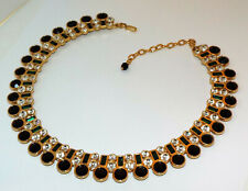 Vintage signed MONET Big clear black green Rhinestone CRYSTAL Collar NECKLACE