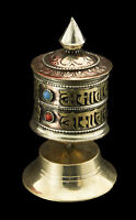 Mulino di Preghiera Tibetano Rame Mantra Rituale Buddista 10cm Su Base 2169