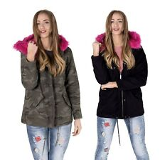 Womens Oversized Hood Pink Fur Parka Coat Ladies Camouflage Faux Fur Jacket