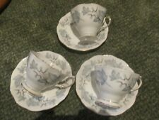 SUPERB SET OF 3 ROYAL ALBERT CHINA CUPS AND SAUCERS 'SILVER MAPLE' DESIGN