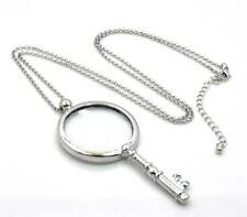 "New Silver Magnifying Glass Antiqued Key Shape Pendant 31"" Chain Necklace SJ019S"