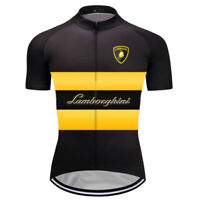 Mens Cycling Jersey Uniform Short Bicycle Sportswear Bike MTB Lamborghini Top