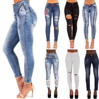 WOMENS HIGH WAISTED RIPPED SKINNY JEANS STRETCH SKINNY HIGH RISE PANTS SIZE 6-14