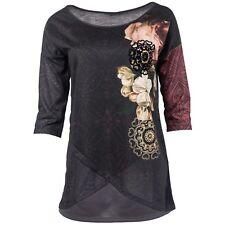 Desigual Damen Shirt 3/4 Ärmel allover Floral Gold Print Beflockung Lagen-Look
