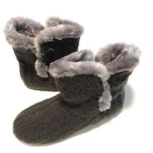 Vionic Womens Cozy Kari Bootie Slippers Gray  Knit Faux Fur Home Comfort Sz 9