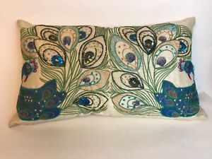 """Pier One Pair of Peacocks Pillow Beaded Embroidered Lumbar 18"""" X 10"""""""