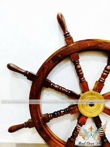36 Inch Big Ship Steering Wheel Wooden Antique Brass Nautical Pirate W/ 8 Spock