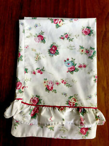 Shabby Chic French Country Floral Pillow Sham Ruffle Pink Roses Cottage standard