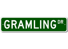 GRAMLING Street Sign - Personalized Last Name Signs