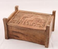 Wooden Jewellery Trinket Box with  Elephant Carving