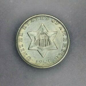 1853-P 1853 Three Cent Silver ICG AU58 Details Nice look!