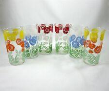 Set of 6 Tumblers Bar Vintage 1950s Glasses Cornflower Floral Design