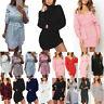 Womens Knit Crochet Sweater Jumper Long Sleeve Mini Shirt Dress Bodycon Knitwear