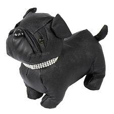 Novità nero in finta pelle tessuto Bulldog Cane Porta Stop Tappo ponderata Animale