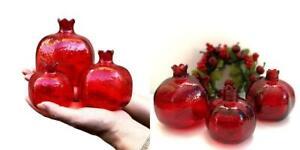 Pomegranate Home Decor,Ornament,Red Glass Vase,Set of 3,Perfect...