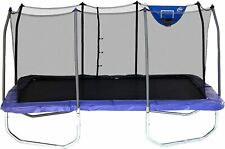 Skywalker 15' x 9' Rectangle Trampoline & Safety Enclosure Walls Blue with Hoop