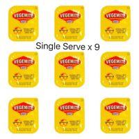 Vegemite Single Serve Portions x9   Australian Spread Snack   Travel Size Sachet