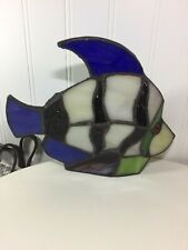 New listing Vintage Stained Glass Tiffany Style Tropical Fish Night Light Accent