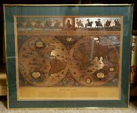 Vintage Circa 1970 Framed Gold Foil Blaeu Wall Map
