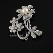 2 Pc Stunning Clear Rhinestone Crystal Faux Pearl  Flower Silver Brooch Pin New