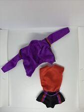 Vintage 80's Roller Skating 2 PCs Outfit Mattel Barbie Doll Clothes Purple Black