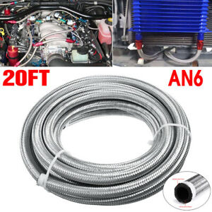 AN6 20 Feet 609.6cm Fuel Hose Oil Gas Line Pipe Stainless Steel Braided Sliver