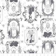 """Camelot Disney Villains Frames Iron 100% Cotton Fabric remnant 35"""""""