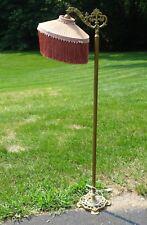 Antique Wrought Iron Victorian Bridge Floor Lamp Refurbish w/Custom Fringe Shade
