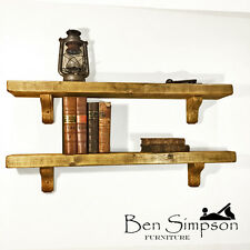 Rustic Shelf Country Cottage shelves Handmade Mantel Solid Wood 15cm Depth - B15