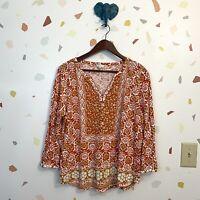 Lucky Brand XL Orange White Boho Print Split Neck Long Sleeve Blouse Top Shirt
