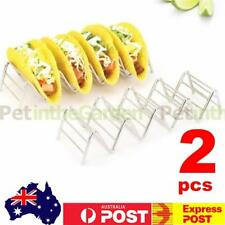 2x Wave Shape Stainless Steel Taco Display Stand Up Holder Rack Shell 4-5 Tacos