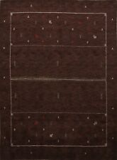 Abstract Tribal Dark Brown Gabbeh Oriental Area Rug Hand-Knotted Wool 8x10 ft