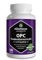 (€12,61/100g) OPC Traubenkernextrakt + Vitamin C 180 Kapseln für 6 Monate