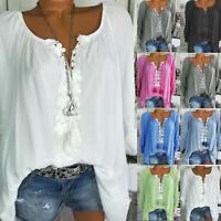 Plus Size Womens Boho Floral Long Sleeve Blouse Baggy Tops Ladies V Neck T Shirt