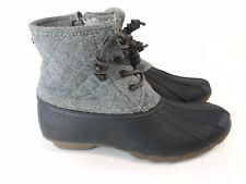 Steve madden Ladies Black Grey Ankle Lace Up Rain Boot Sz US8 UK6 EU39 Fast Ship