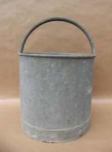 Seau ancien en zinc anse rigide pot de fleurs plantes jardin décoration vintage