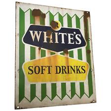 Original Fine 1960's Lemonade R White's Soft Drinks Advertising Enamel Wall Sign