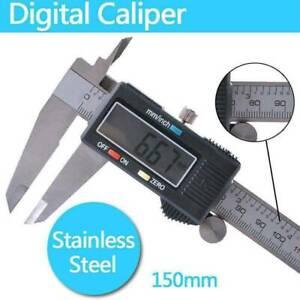 150mm 6inch Carbon Fiber Digital Electronic Gauge Vernier Caliper Micrometer -UK