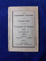 CONSOLIDATED BY-LAWS BOOKLET MUNICIPAL COUNCIL TOWNSHIP OF ONEIDA 1923 CANADA