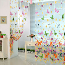 Butterfly Print Sheer Curtain Panel Window Balcony Tulle Room Divider Colorful