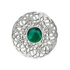 CELTIC KNOTWORK SILVER PLATED BROOCH LARGE WITH EMERALD COLOUR STONE 0805