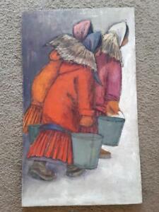 "Vintage Alaskan Artist Joan Arend Kickbush Oil Painting on Board 18""x30"""