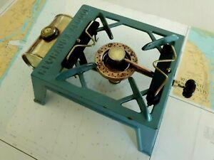 Vintage Brass & Iron Enamel Museum Old Portable Rechaud a Alcohol Burner Stove