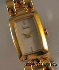 New Ladies Citizen Eco Drive EG2902-53P Jolie Goldtone Champagne Dial Watch